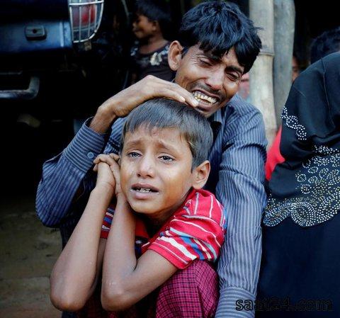 یک مسلمان روحینگایایی میانمار که هنگام ورود به بنگلادش و فرار از کشتار این قوم در میانمار دستگیر شده است