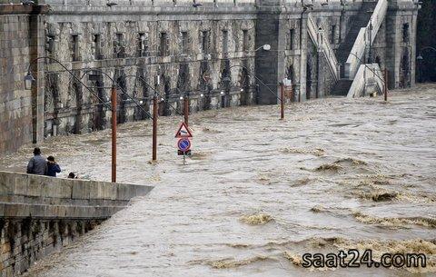 طغیان رودخانه پو در تورین ایتالیا
