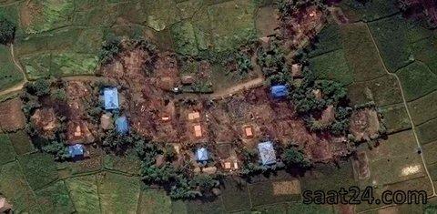 عکس ماهواره ای از تخریب یک روستای مسلمان نشین موسوم به کیت یو پین در منطقه منگداو در میانمار