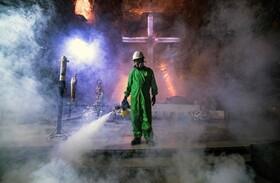 ضد عفونی یک کلیسا در یک معدن نمک در کلمبیا که توسط کارگران معدن ساخته شده است